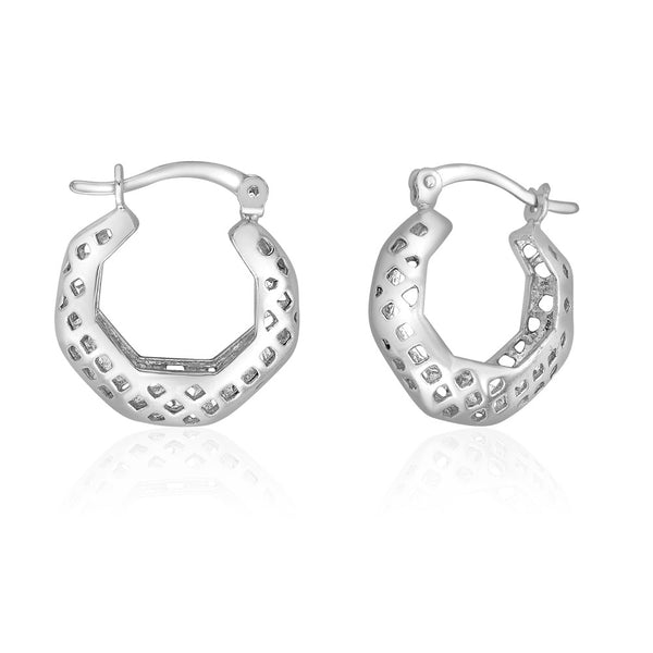 Taraash Sterling Silver Plain Cutwork Hoop Earrings For Women CBHP038I-06
