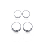 Taraash 925 Sterling Silver Combo of Designer Hoop Earrings For Women CBHP039I-01 C