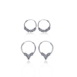 Taraash 925 Sterling Silver Combo of Designer Hoop Earrings For Women CBHP039I-03 C