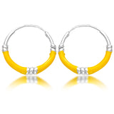 Taraash Sterling Silver Yellow Enamel Hoop Earring For Women