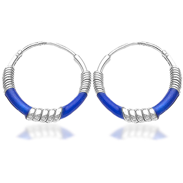 Taraash 925 Sterling Silver Blue Color Enamel Hoop Earring For Women