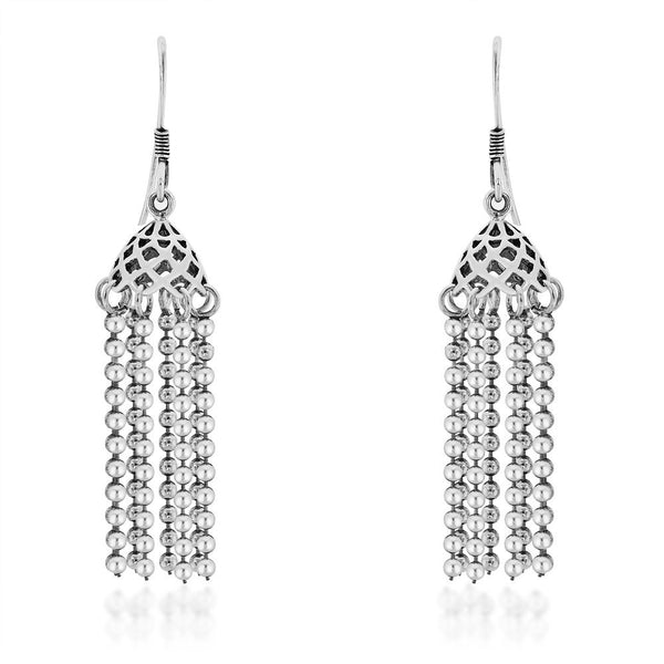 Taraash Chandelier Design with Silver Ball Chain 925 Sterling Silver Earring CBJH012I-05