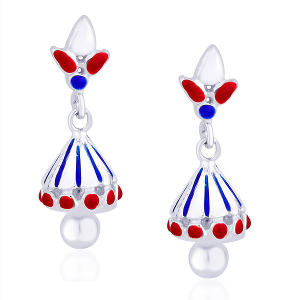 Taraash Blue & Red Enamel 925 Sterling Silver Jhumkis For Women CBJH017I-02