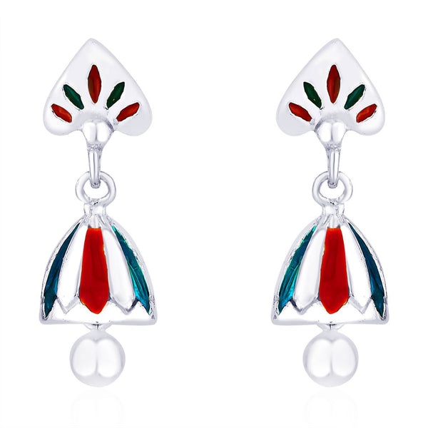 Taraash Turquoise Blue and Red Enamel 925 Sterling Silver Jhumki Earring For Women CBJH017I-13