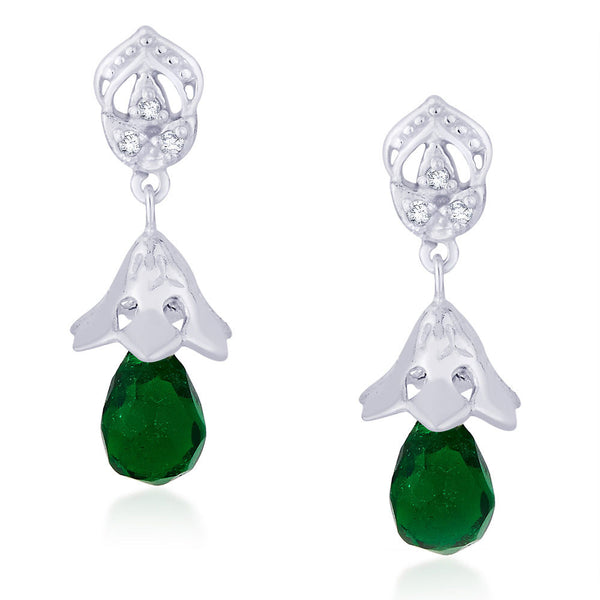 Taraash CZ And Green Bead Floral Jhumki 925 Sterling Silver Earring CBJH018I-01