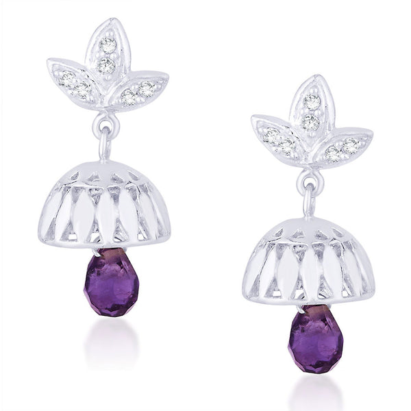 Taraash CZ And Purple Bead Floral Jhumki 925 Sterling Silver Earring CBJH018I-03