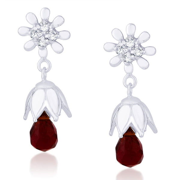 Taraash CZ And Red Bead Floral Jhumki 925 Sterling Silver Earring CBJH018I-05