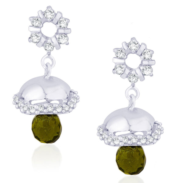 Taraash CZ And Olive Green Colour Bead Floral Jhumki 925 Sterling Silver Earring CBJH018I-08