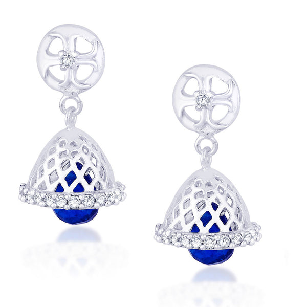 Taraash Stunning CZ And Blue Bead Floral Jhumki 925 Sterling Silver Earring CBJH018I-12