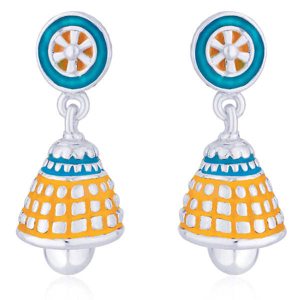 Taraash Multicolor Enamel .925 Sterling Silver Floral Jhumki Earrings For Girls CBJH019I-08