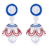 Taraash .925 Steling Silver Multicolor Enamel Circle Jhumki Earrings For Girls CBJH020I-05