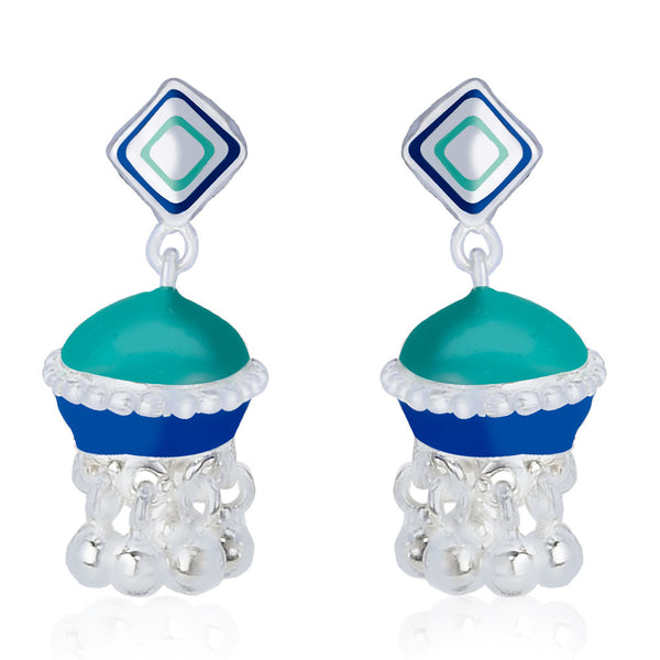 Taraash Multicolor Enamel 925 Silver Square Jhumki Earrings CBJH021I-06