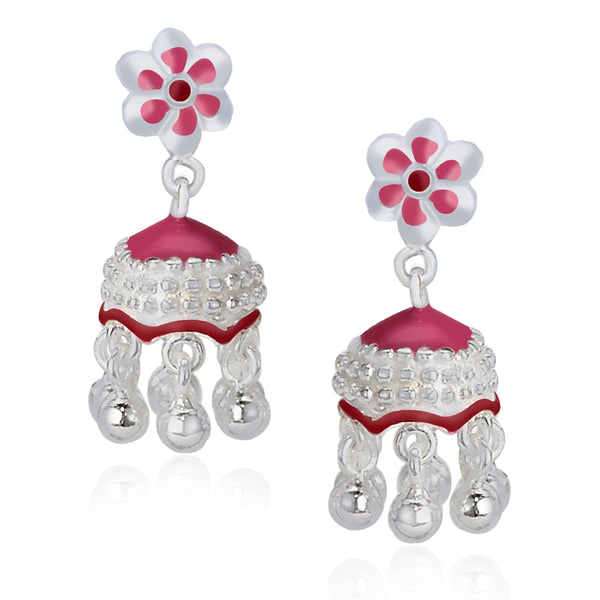 Taraash .925 Sterling Silver Red Colour Enamel Floral Jhumki Earrings For Womens CBJH021I-08