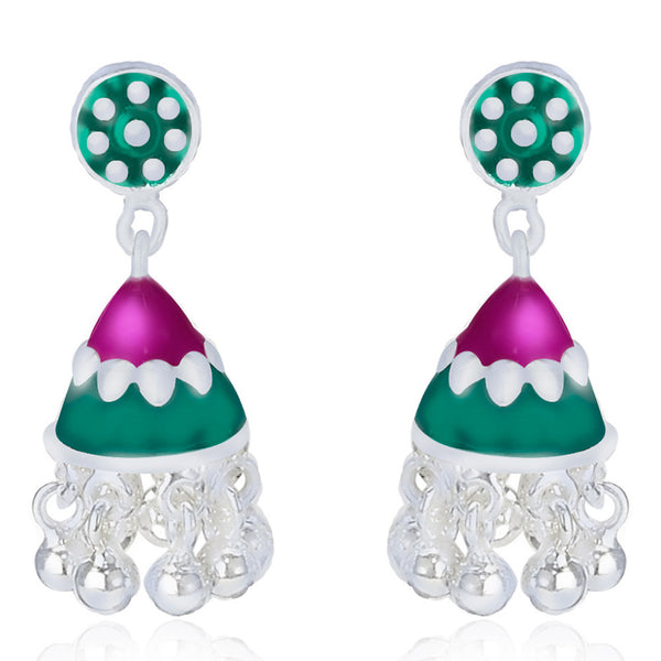 Taraash Multicolor Enamel .925 Sterling Sliver Floral Jhumki Earring For Women CBJH021I-09