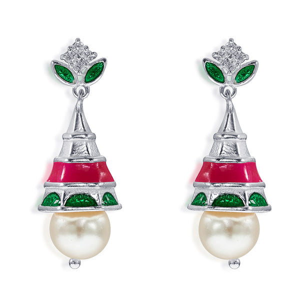 Taraash Sterling Silver Floral Style Colorful Jhumki Earrings For Women CBJH034I-06
