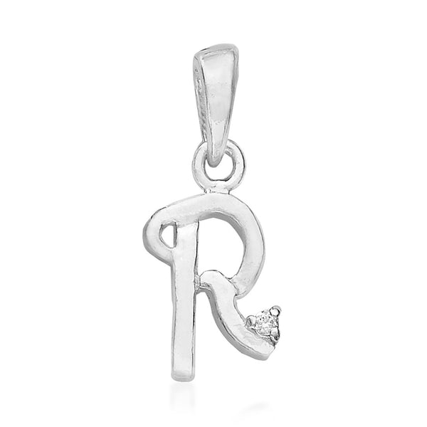 "Taraash 925 Sterling Silver initial Letter ""R"" Pendant Unisex"