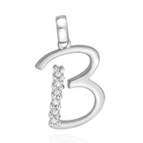 "Taraash Sterling Silver Cz Studded Initial ""B"" Pendant For Men /Women CBPD028I-02"