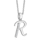 "Taraash Sterling Silver CZ Studded Initial ""R"" Pendant For Men /Women CBPD028I-10"