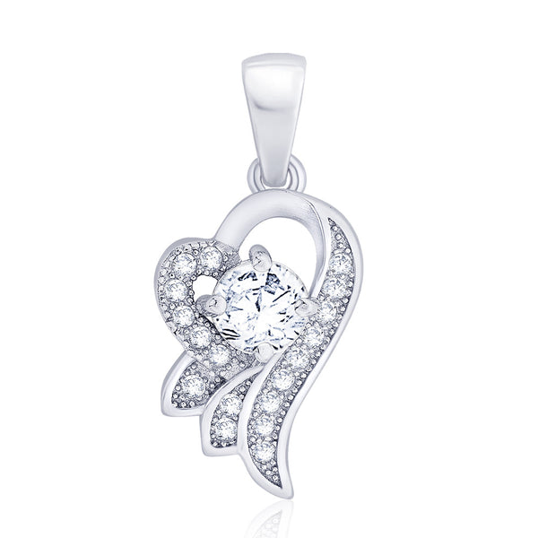 Taraash 925 Sterling Silver CZ Studded Heart Shape Pendant For Women CBPD049I-03