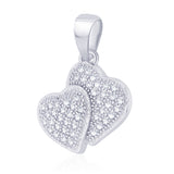 Taraash 925 Sterling Silver CZ Double Heart Design Pendant For Women CBPD049I-06