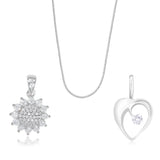 Taraash 925 Sterling Silver Two Pendants with Chain Combo For Women CBPDCH-05