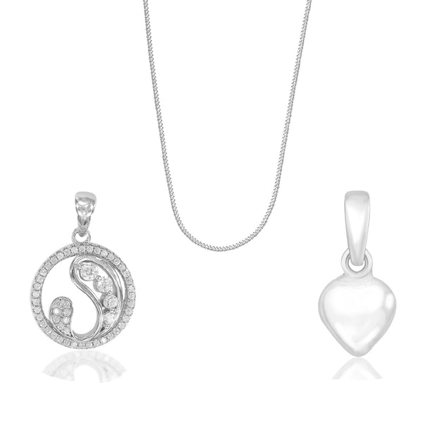 Taraash 925 Sterling Silver Two Pendants with Chain Combo For Women CBPDCH-06