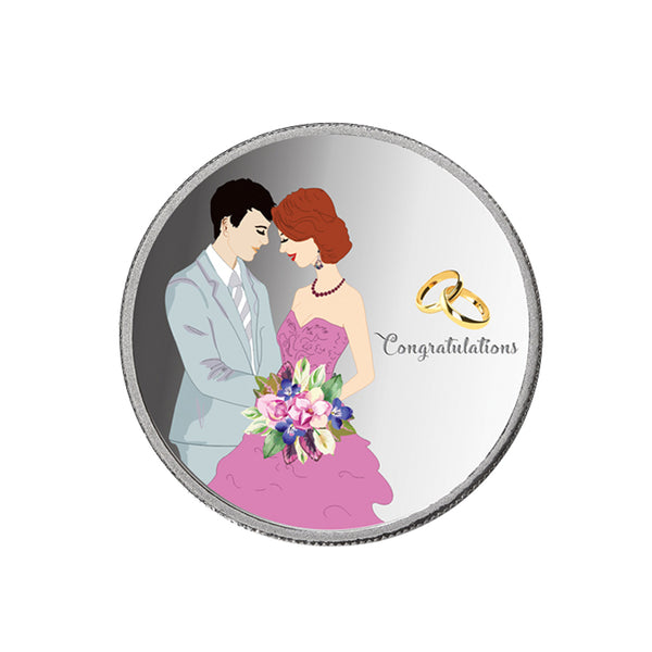 Taraash 999 Silver 10 Gram Wedding Coin For Newly Married Couple CF24R12G10W (Pack Of 10)