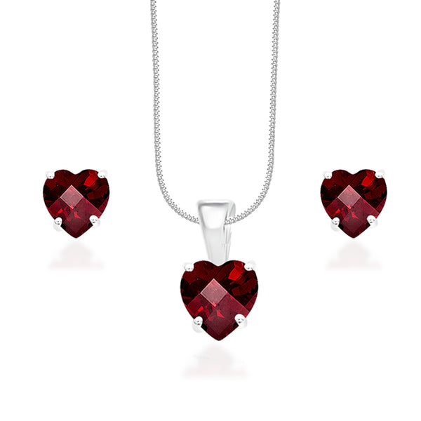 Taraash 925 Silver Red Cz Pendant Set  For Women