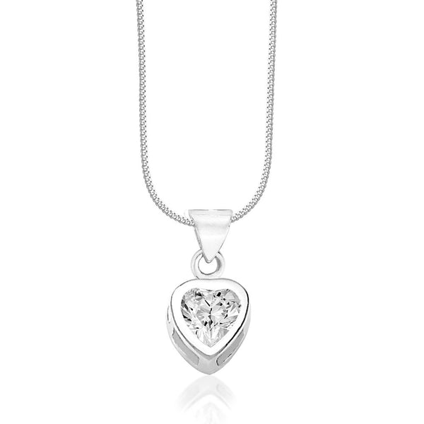 Taraash Solitare CZ Heart 925 Sterling Silver Pendant For Women COMBO PD 34