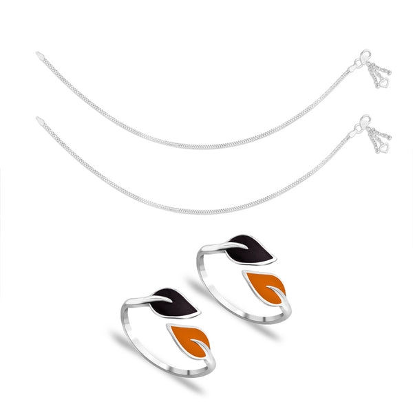 Taraash Sterling Silver Combo of Anklet & Toe Ring For Women COMBO ANTR 102