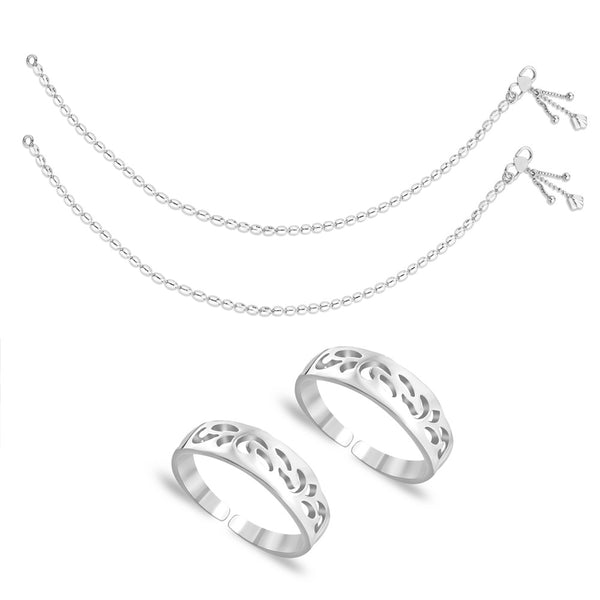 Taraash Sterling Silver Combo of Anklet & Toe Ring COMBO ANTR 11