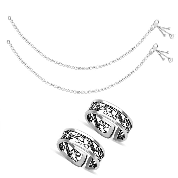 Taraash  Sterling Silver Combo of Anklet & Toe Ring COMBO ANTR 14