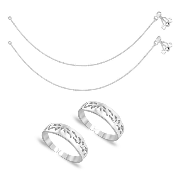 Taraash Sterling Silver Combo Of Anklet & Toe Ring For Women COMBO ANTR 51