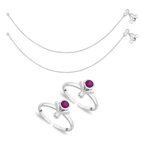 Taraash Sterling Silver Combo Of Anklet & Toe Ring For Women COMBO ANTR 58