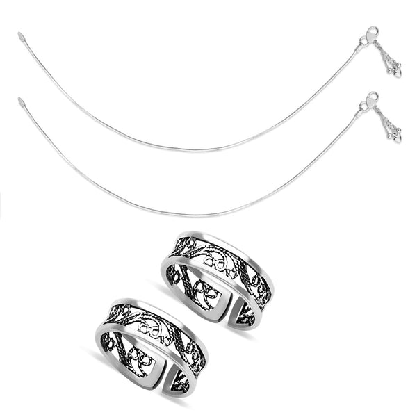 Taraash Sterling Silver Combo Of Anklet & Toe Ring For Women COMBO ANTR 64