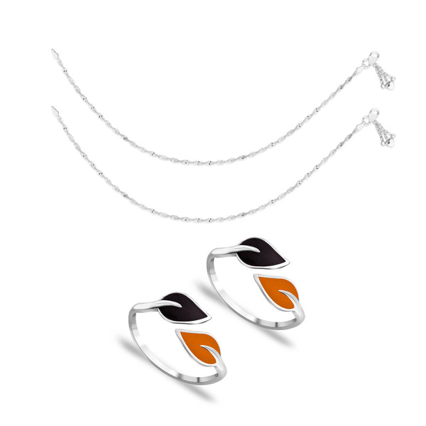 Taraash Sterling Silver Combo Of Anklet & Toe Ring For Women COMBO ANTR 72