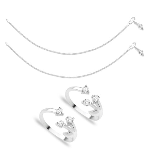 Taraash Sterling Silver Combo of Anklet & Toe Ring For Women COMBO ANTR 86