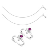 Taraash Sterling Silver Combo of Anklet & Toe Ring For Women COMBO ANTR 88