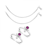 Taraash Sterling Silver Combo of Anklet & Toe Ring For Women COMBO ANTR 98