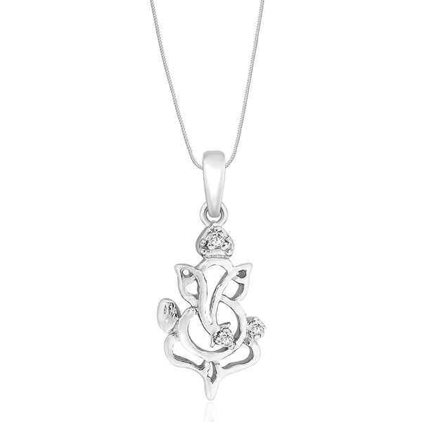 Taraash Sterling Silver Cz Ganeshji Pendant With Chain For Unisex COMBO PDCH 102