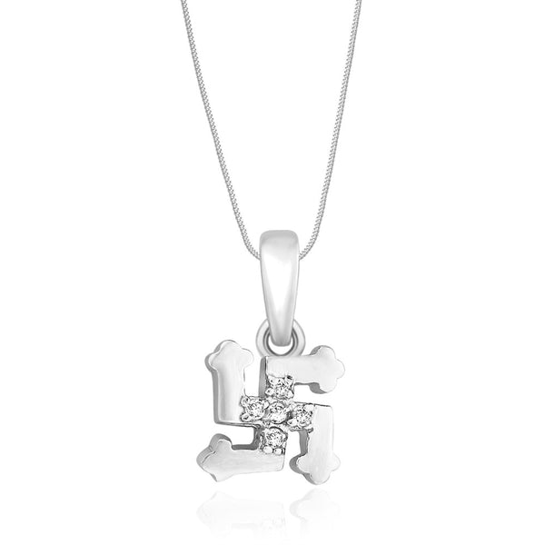 Taraash Sterling Silver Cz Swastik Pendant With Chain For Unisex COMBO PDCH 103
