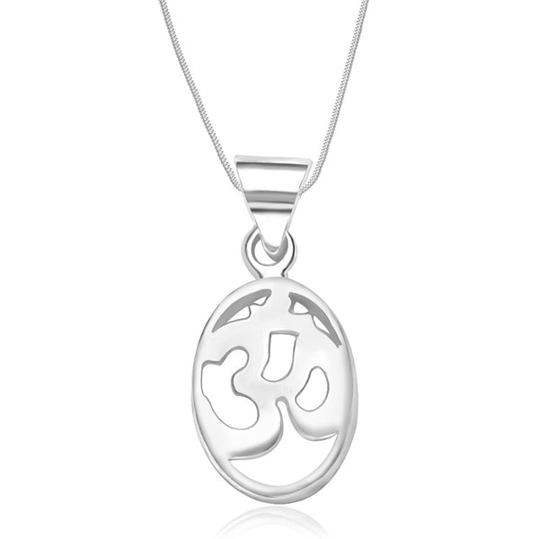 Taraash Sterling Silver Om Pendant With Chain For Unisex COMBO PDCH 60