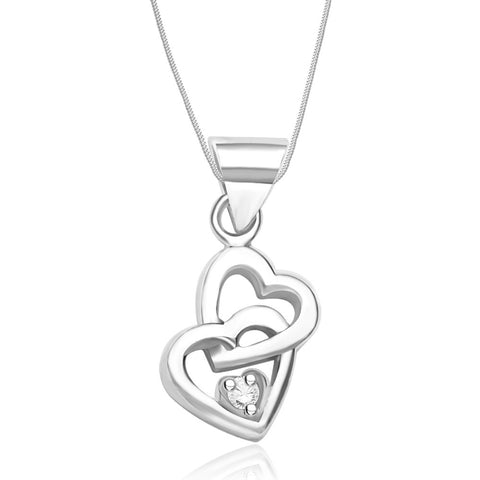 Taraash Sterling Silver Chain Heart Pendant With Chain For Women COMBO PDCH 68