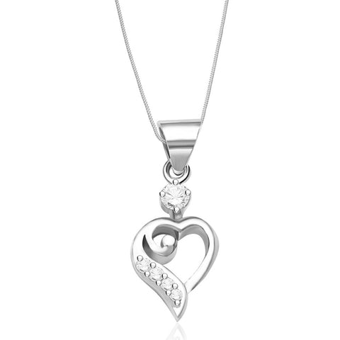Buy silver chains online for men women exclusive available here taraash sterling silver chain heart pendant with chain for girls combo pdch 69 mozeypictures Choice Image
