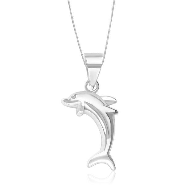 Taraash Sterling Silver Dolphin Pendant With Chain For Unisex COMBO PDCH 73