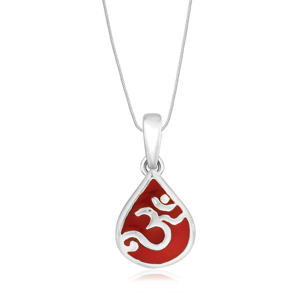 Taraash Sterling Silver Red Enamel Om Pendant With Chain For Unisex COMBO PDCH 91