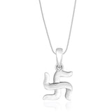 Taraash Sterling Silver Swastik Pendant With Chain For Unisex COMBO PDCH 92