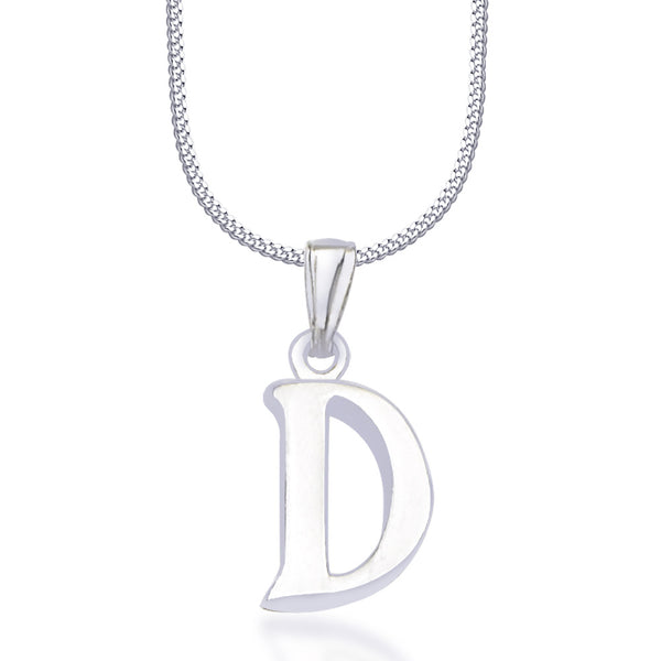 "Taraash Alphabet 'D' with 18"" Chain 925 Sterling Silver Pendant For Unisex COMBO PD 80"