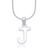 "Taraash Alphabet 'J' with 18"" Chain 925 Sterling Silver Pendant For Unisex COMBO PD 83"