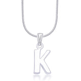 "Taraash Alphabet 'K' with 18"" Chain 925 Sterling Silver Pendant For Unisex COMBO PD 84"